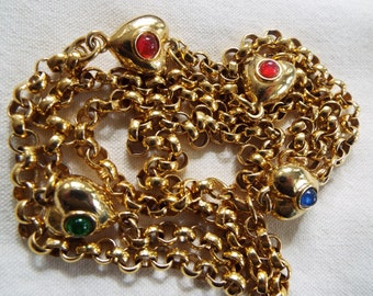 """AFJ gold plated heart chain flapper necklace 39"""" long"""