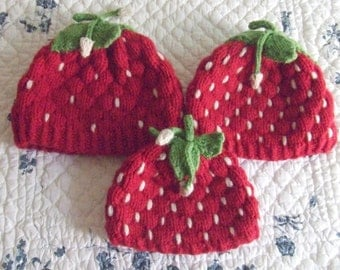 Knitting Pattern–Strawberry Hats, knit strawberry small child medium child adult hat beanie cloche with leaves PDF pattern