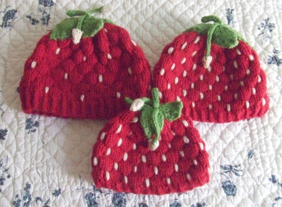 Strawberry Leaf Knitting Pattern : Knitting PatternStrawberry Hats knit strawberry small child