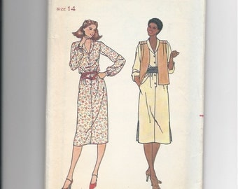 UNCUT Vintage Sewing Pattern Butterick 6378 for Dress, Sz 14, 1970s