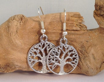 TREE Of LIFE EARRINGS Tibetan Style Silver Tone Charms on Nickelfree Hooks