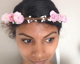 flower floral crown hair wreath (pastel pink rose) - Wedding headpiece, headband, vintage inspired rose crown, french ribbon pip berries