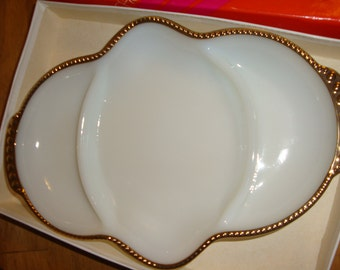 Vintage Wedding White Milk Glass with Gold Trim Anchor Hocking Fire King 3 part Relish Serving Tray/Dish with Box EX condition