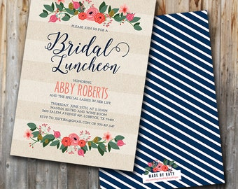 Whimsy Floral Bridal Luncheon Invitation, Bridal Brunch Invite, Bridesmaids, Wedding Shower, Custom, Printable, Double Sided