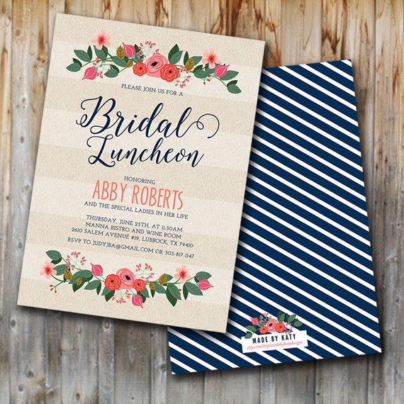 Whimsy floral bridal luncheon invitation bridal brunch for Wedding brunch invitations
