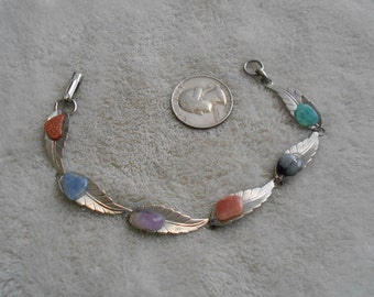Vintage Bracelet- Linked Leafs with Stone Centers