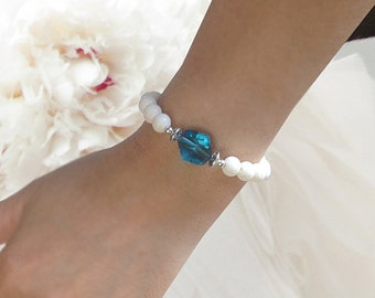 White Coral Stretch Beaded Bracelet With Blue Zircon Swarovski Crystal And Sterling Silver Elastic Cunky Wedding Jewelry Gift For Her