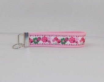Adorable Keychain Wristlet Made With Ladybug Inspired Ribbon