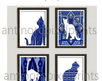 Navy Indigo Ikat Cat Silhouette Wall Art Pictures Custom Colors Available -Set includes 4 - 8 x 10 Prints  (UNFRAMED) #236772141