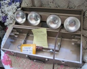 Vintage Excel-Lite Bar with 4 General Electric Movie Bar Lights and Steel Box
