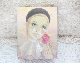 Vintage Box, Lady Box with a Rose and tear her eye,Clown,Dancer,Gold Lincoln Tomb Springfield,Storage Box, :)s