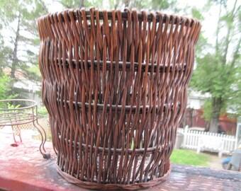 Basket Big Wicker Basket, Pretty Bamboo Rattan Big Basket Nice Sz, Flowers Basket, Towels Storage, Plant,Vintage Home Decor, :)S