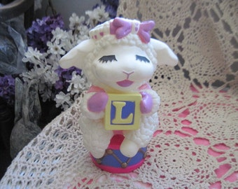 Vintage Shari Lewis 1993 Baby Lamb Chop Coin Bank Block Letter :)