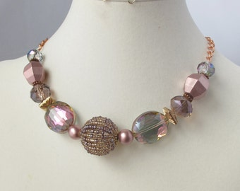 Pink Beaded Bead and Crystal Choker on Copper Chain