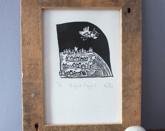 Night Flight - lino cut print
