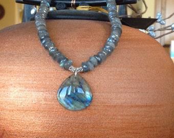 Shimmering Labradorite Pendant Necklace