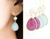 Teardrop Dangle Earrings, Pastel Ice Blue or Fuchsia Hot Pink, Wedding Party Jewelry, WJ