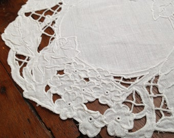 French Heirloom Round Doily, Hand Worked White Cotton Linen Table Mat