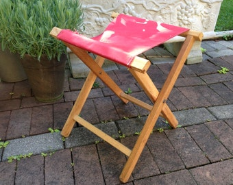 Vintage Camp Canvas & Wood Fishing Pier Stool ~ Mid Century ~ Rustic Cabin Lake House ~ Folding Chair