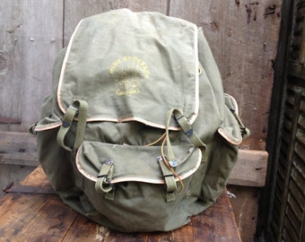 Olive Green Canvas Rucksack, Campari Scouts Backpack Camping Bag, Heavy Duty Camping Hiking Survival Bag, Mountain Climbing Gear