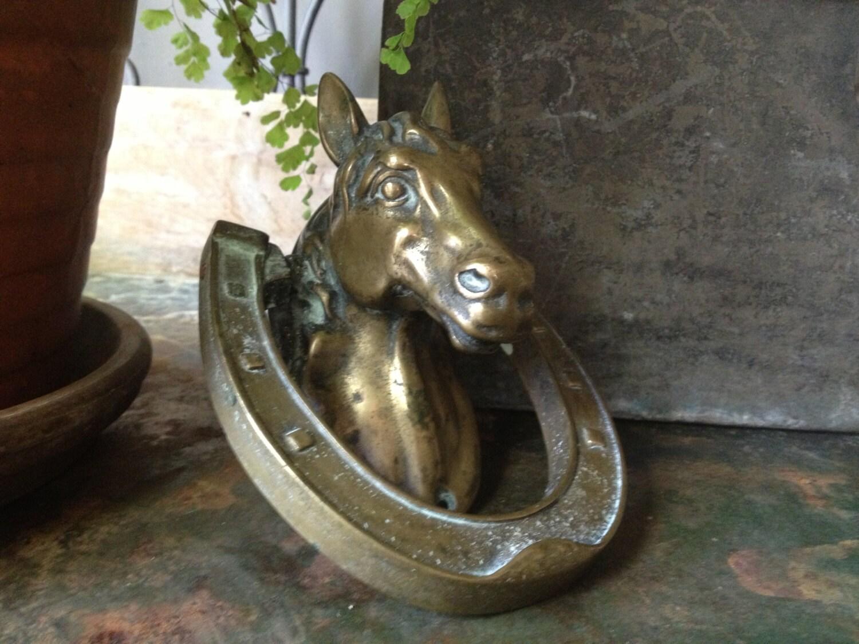 Antique heavy solid brass equestrian horse head door knocker - Horse door knocker ...