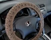 Crochet Steering Wheel Cover, Wheel Cozy - taupe heather (CSWC 2HHH)