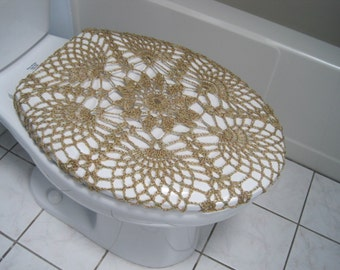 Crochet Toilet Seat Cover or Crochet Toilet Tank Lid Cover - brownish (TSC12F or TTL12F)