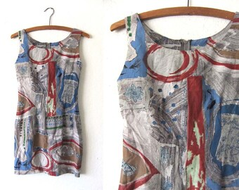 Painterly Abstract Mini Tank Dress - Watercolor Block Print Tunic 90s Midi Dress Sleeveless Sheath - Womens Small