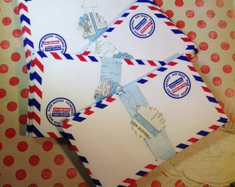 30 Air Mail Envelopes, Airmail Par Avion Envelopes for Altered Art, Mixed Media, Journals, Scrapbooks