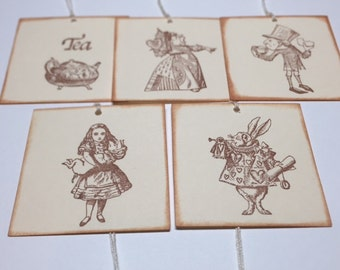 10 Alice in Wonderland Gift Tags No. 353