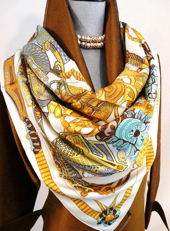 sale authentic hermes silk scarf armets en panache