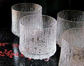 Iittala Glasses Ultima Thule by Tapio Wirkkala, Finnish Designer, Mid-20th Century Classic - Set of Four Iittala Glasses in Original 60s Box
