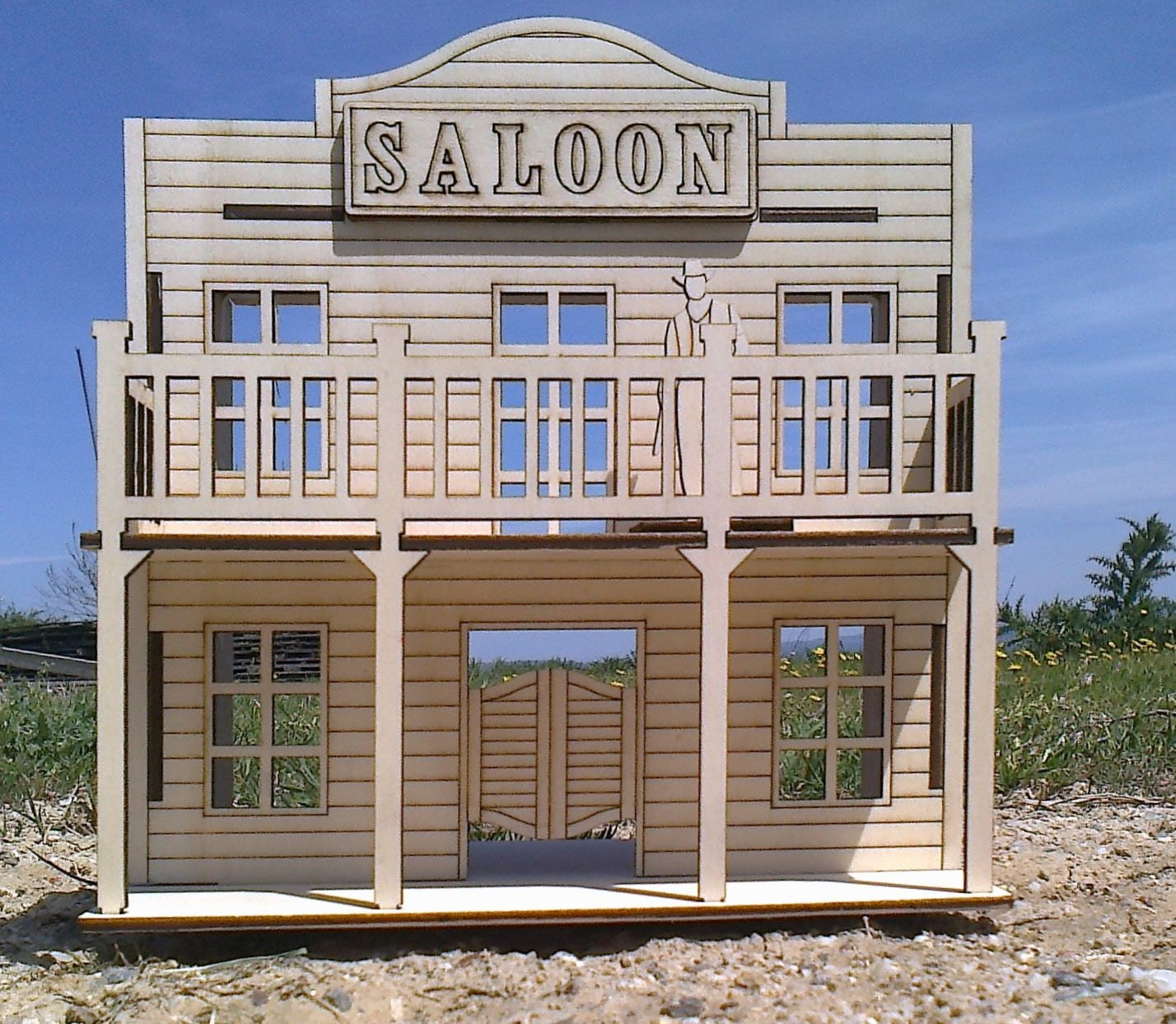 wild west saloon wooden small dollhouse plywood kit. Black Bedroom Furniture Sets. Home Design Ideas