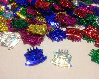 25 assorted color birthday cake confetti / sequins , 14-15 mm (17)