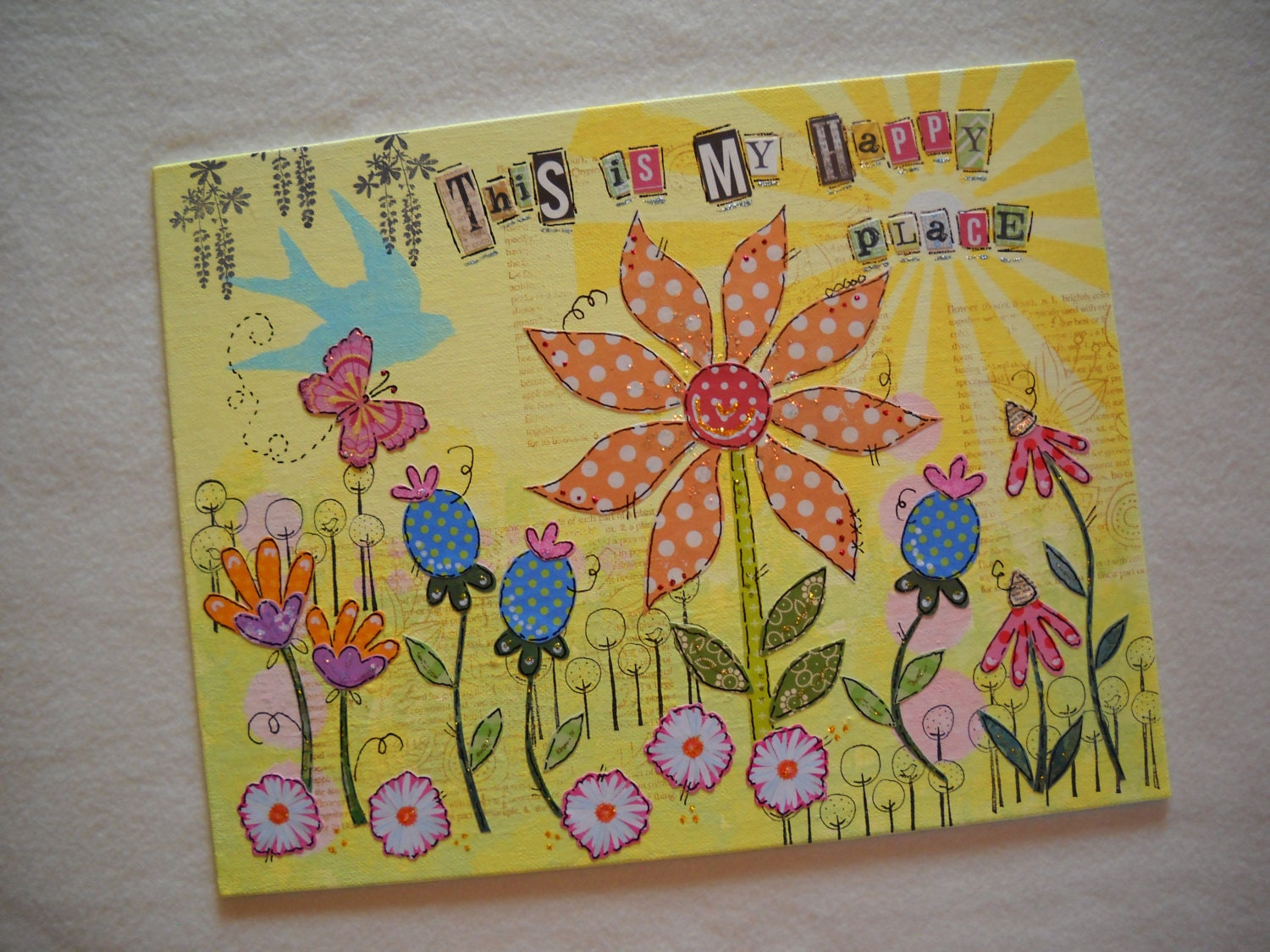 mixed media art canvas painting collage art whimsical wall