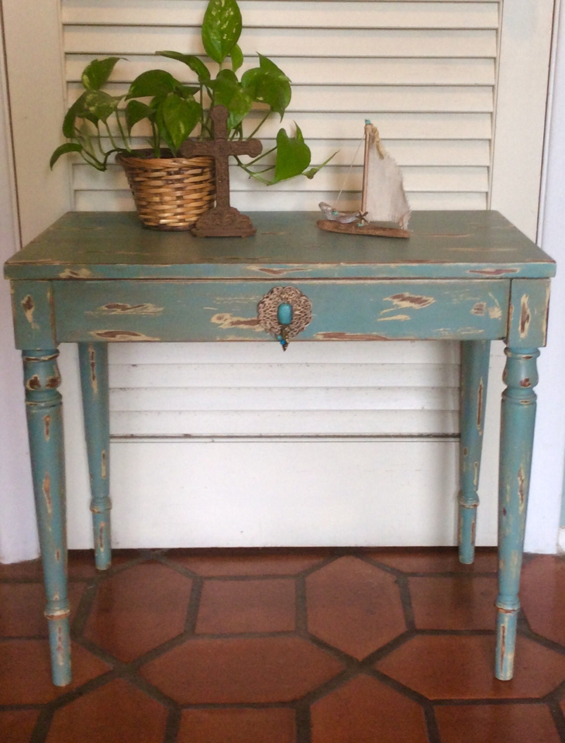 Shabby Chic Piano Bench Table