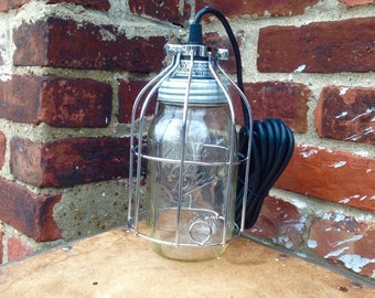 Mason jar, Industrial Light,  SILVER Mason Jar Light, Single Drop Chandelier