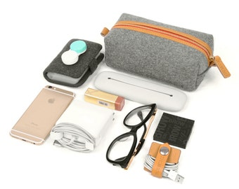 Collection Bag Wool Felt Handbag Charger Case for Macbook/Laptop Genuine Leather Travelling Bag Cosmetic Bag Storage Bag Package Bag Pouch S
