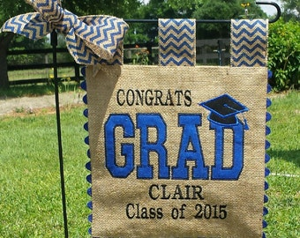 Custom Burlap Graduation Flag - Your choice of colors and personaliztion - Single Sided