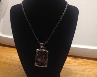 Vintage Silvertone Necklace with Silvertone Design Pendant, Length 30''