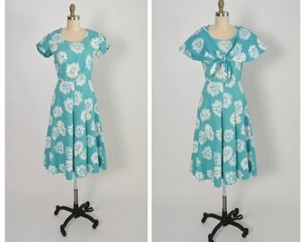 Vintage 1940s 40s Waffle Cotton Tropical Dress with Bolero Shawl