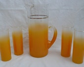 Vintage Orange Blendo Pitcher and Tumbler Set 1960's Pitcher and Glasses Colonial Glass Company, Mid Century 4 Glasses and Pitcher
