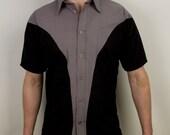 Mens alternative curved geometric dress shirt
