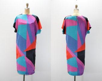 Med - Lg Vintage Dress - Graphic Color Block