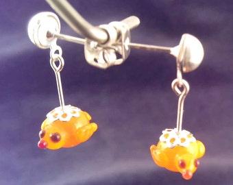 SRA artist earrings lampwork murano glass birds S820