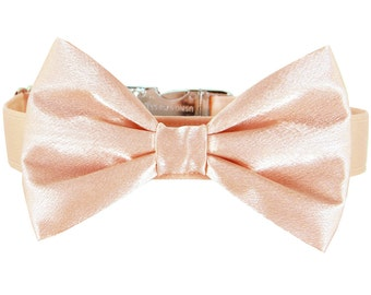Blush Peach Wedding Dog Bow Tie Collar/ Satin Dog Collar Bow Tie Set: Blush Satin