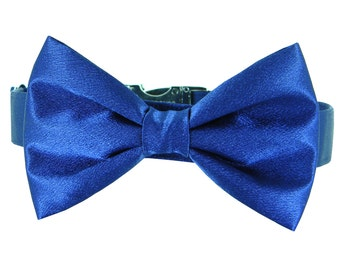 Navy Blue Wedding Dog Bow Tie Collar/ Satin Dog Collar Bow Tie Set: Navy Satin