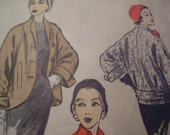 Vintage 1950's Advance 6294 Coat Jacket Sewing Pattern, Size 16, Bust 34