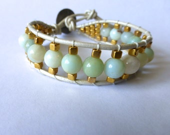 Amazonite and Gold Bracelet
