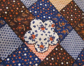1960's Patchwork Fabric Piece, Patchwork, Cheater Cloth, Hippy, Calico, 1960's,1970's, Blue, Boho, Decorator Weight, Cotton, Fabric